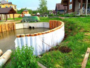 Строительство и берегоукрепление пруда в Нахабино (МО, Красногорский район) 1