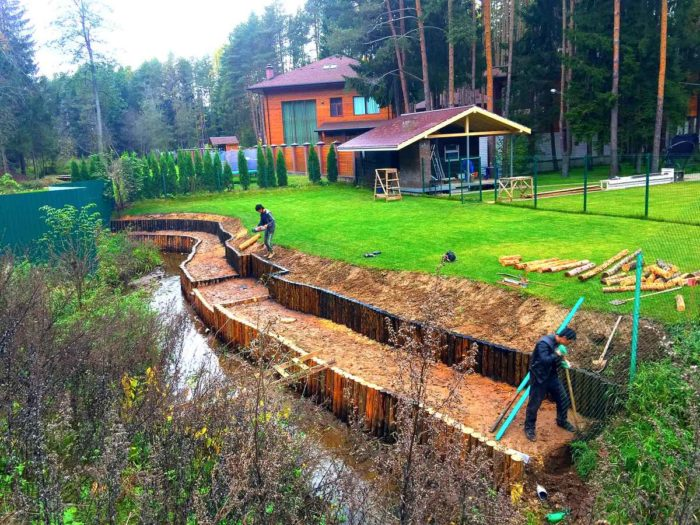 Укрепление берега реки в Новой Москве (КП «Зимний сад»)