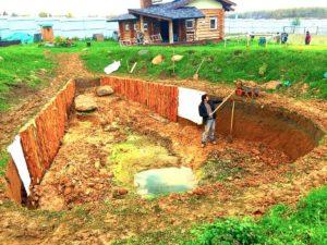 Копка и берегоукрепление пруда в Истринском районе (п. Тихая заводь)