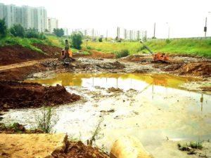 Строительство прудов в Москве (Очаковские пруды на Никулинской улице).